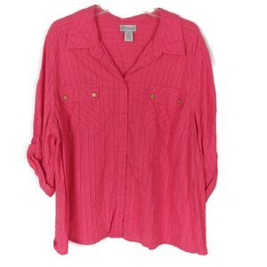 Catherines Button Up Half Roll Tab Sleeve Shirt 1X